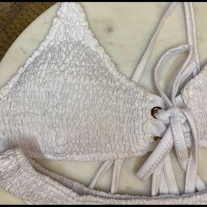 NWOT White Shirred Tie-up Bikini w/ Cheeky Bottoms